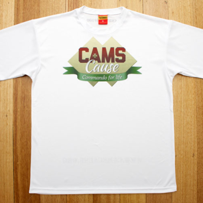 White Cam's Cause t-shirt - front design