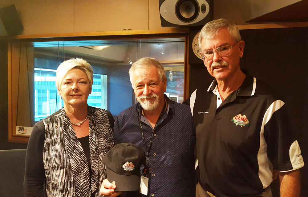Doug and Kaye Baird meet with Neil Mitchell at the 3AW studio ahead of ANZAC Day 2016