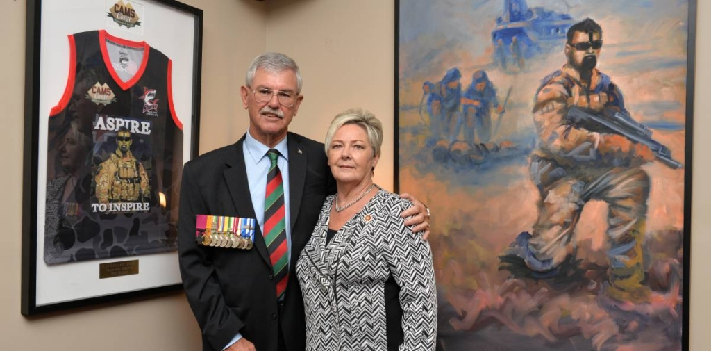 HUMBLED: Doug and Kaye Baird officially opened the Corporal Cameron Stewart Baird VC MG room at the Burnie RSL. Picture: Brodie Weeding